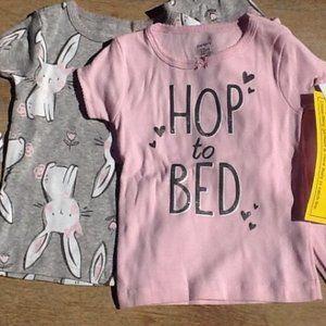 NWT Carter 12 M 2 PJ Set Easter Bunny Pink & Grey